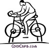 man riding stationary bike Vector Clipart picture