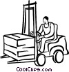 person driving a forklift Vector Clip Art picture