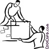 people moving boxes Vector Clip Art picture