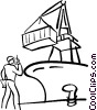 Vector Clip Art graphic  of a unloading a cargo ship