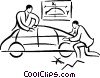 Vector Clipart illustration  of an automobile designer