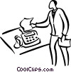 man at fax machine Vector Clipart illustration