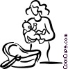 Vector Clip Art image  of a mother with a baby