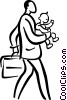 Vector Clipart image  of a father with a baby