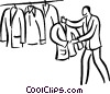 man shopping for a suit Vector Clip Art picture
