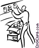 Vector Clip Art graphic  of a clerk stocking shelves