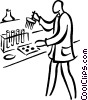 Vector Clip Art graphic  of a lab technician performing