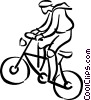 Vector Clip Art image  of a boy on his bike