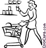 Vector Clipart picture  of a woman food shopping
