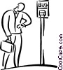 Vector Clipart image  of a person waiting at the bus stop