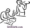 Vector Clipart graphic  of a waiter serving food to