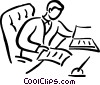 Vector Clip Art image  of a man doing paper work at his