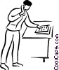 Vector Clipart image  of a man making a phone call