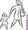 Vector Clipart graphic  of a mother and daughter