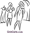 Vector Clipart image  of a woman shopping for a dress