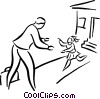 businessman greeting his child Vector Clipart illustration