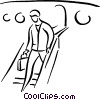 Vector Clipart image  of a person getting off a plane