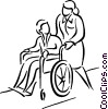 nurse pushing patient in a wheelchair Vector Clipart graphic