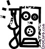 Vector Clipart graphic  of a early telephone