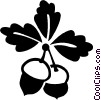 Vector Clipart picture  of an acorn and leaves