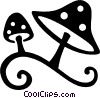 wild mushrooms Vector Clipart graphic