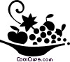 Vector Clip Art graphic  of a bowl of fruit
