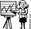 Vector Clipart image  of a woman presenting sales figures
