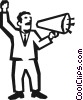 Vector Clip Art graphic  of a man with a megaphone
