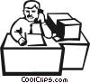man talking on the phone at his desk Vector Clipart picture