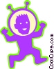 Astronaut running Vector Clip Art picture