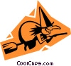 Vector Clip Art graphic  of a witch on a broom stick