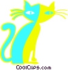 Vector Clipart image  of a black cat