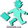 Vector Clip Art picture  of a businessman walking to work