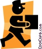 Vector Clip Art graphic  of a delivery man