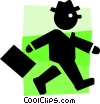 Vector Clipart image  of a businessman walking to work