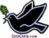 dove with an olive branch in its mouth Vector Clip Art graphic