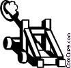 Vector Clip Art image  of a catapults