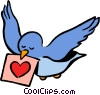 Vector Clip Art image  of a bird with valentines day card