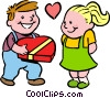 Vector Clip Art graphic  of a boy giving girl box of