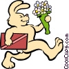 rabbit with chocolates and flowers Vector Clipart graphic