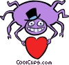 Vector Clipart graphic  of a Spider with a valentines day
