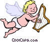 Vector Clip Art image  of a cupid playing a harp