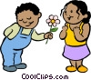 Vector Clip Art graphic  of a little boy giving a girl a