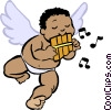 Vector Clip Art image  of a cupid playing a flute