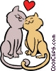 Vector Clip Art image  of a cats in love