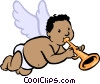 cupid playing a trumpet Vector Clip Art picture