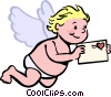 Vector Clipart image  of a cupid with a love letter