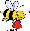 Vector Clip Art graphic  of a bumblebee with a heart