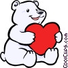 Polar bear with a heart Vector Clipart illustration