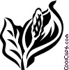 Vector Clip Art image  of a peace lily